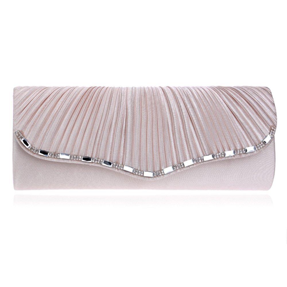 WHXYAA Pleated Fashion OneShoulder Diagonal Female Bag Bride Socialite Clutch Bag (color   Apricot, Size   XS)