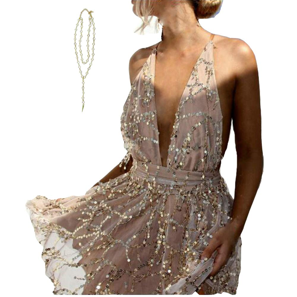 Champagne AnnaK & Co Club Mini Dress Romper Playsuit Gift for Women gold Small