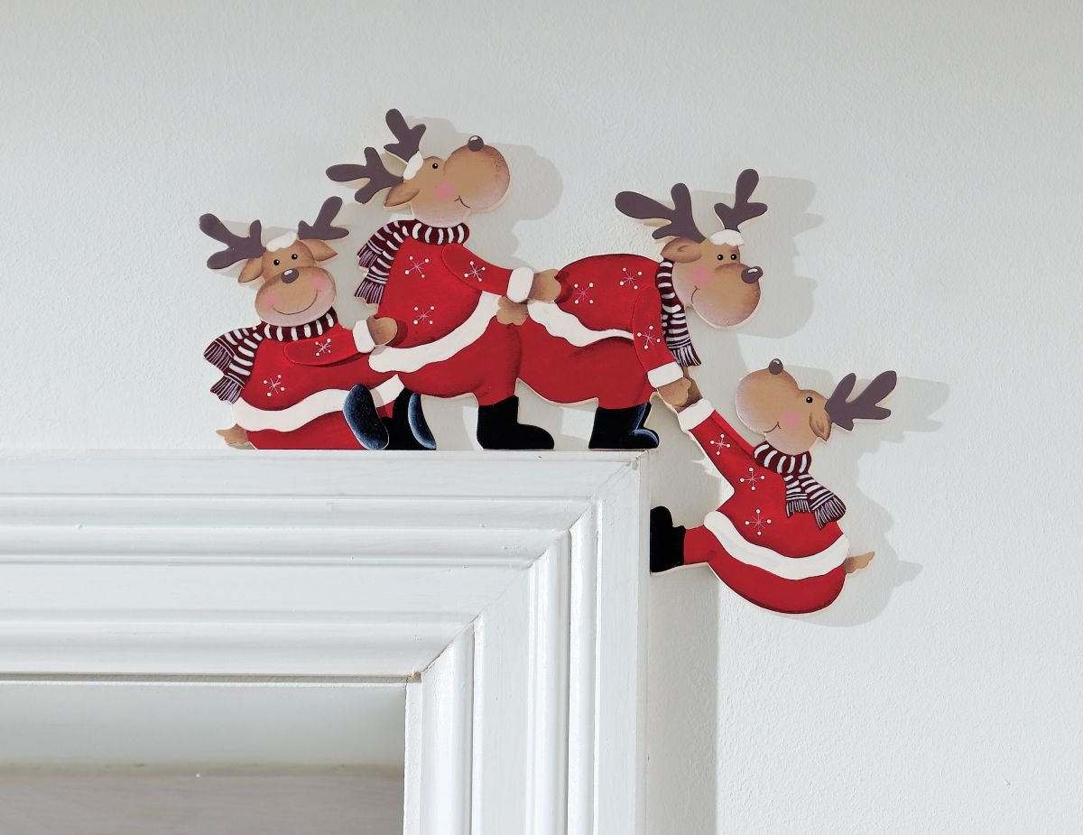 Christmas decorations, a tumbling moose for door frames, wood PureDay