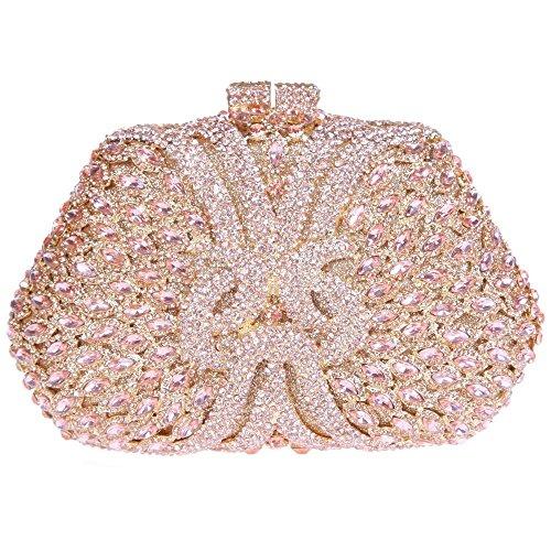 Damen Clutch Abendtasche Handtasche Geldbörse Glitzertasche Strass Kristall Blume Kuss Schloss Tasche mit wechselbare Trageketten von Santimon(6 Kolorit) Champagne