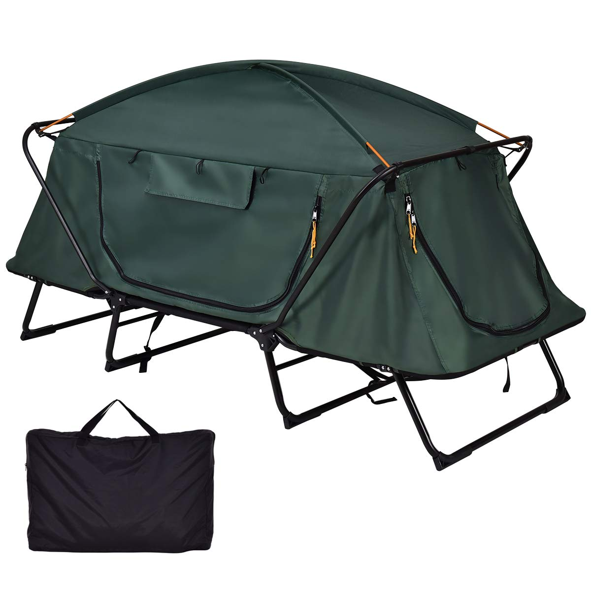 GYMAX Tent Cot, 1 Person Foldable Camping Waterproof Shelter with Window Carry Bag by GYMAX (Image #2)
