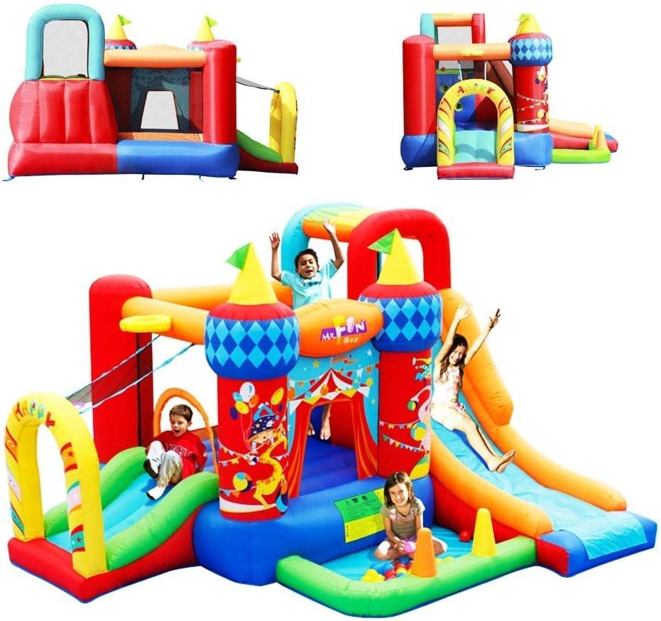 HIGHKAS Juguetes Deportivos Castillo Inflable para niños Parque Infantil al Aire Libre Cama Juguete Jardín Infantes Juguete Inflable Jardín Familiar Castillo Inflable 4 Personas (Color: Rojo, Tamaño
