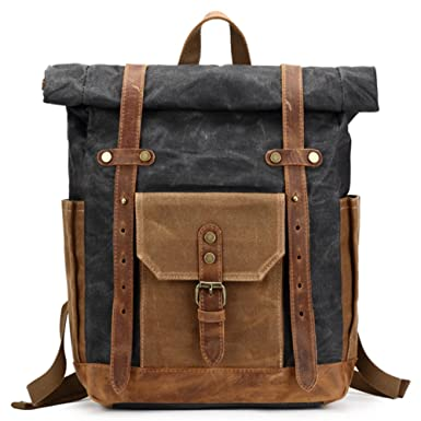 3ea3f7f4da Mwatcher Waterproof Waxed Canvas Leather Backpack College Weekend Travel  Rucksack 15in laptops Backpack (Black)