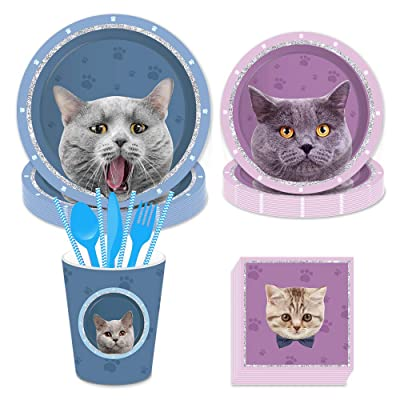 CC HOME Kitty Cat Party Supplies,Cat Theme Party Plates,Napkins,Cups for Kitten Cat Birthday Party,Baby Shower Decorations Serves 16: Toys & Games