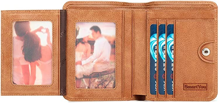 Bifold Side Flip 8haowenju 2 ID Window RFID Wallet for Men Extra Capacity Travel Wallet Love Gift