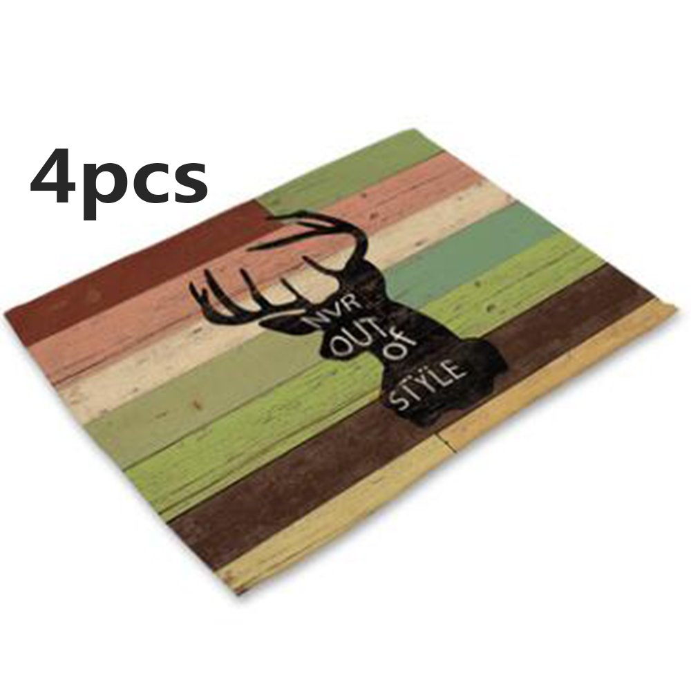 Cartoon Animal Series Letter Elk Stripe Printing Western Food Mat Bowl Cup Placemat,42CM32CM(4pcs) (42CM32CM, 6)