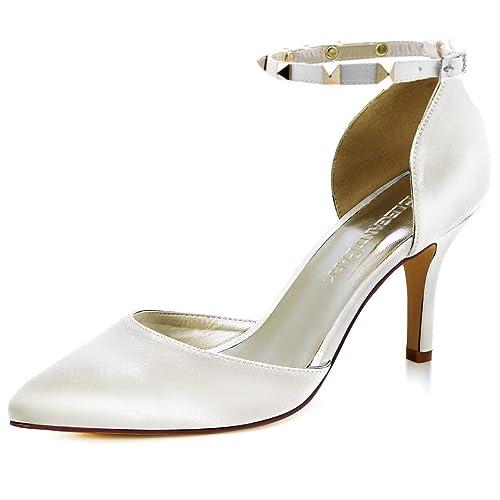 22662a33 ElegantPark HC1811 Punta Estrecha Mujeres Tacones Altos Zapatos Corte  Tobillo Correas Remache Boda Fiesta Graduación Zapatos Novia: Amazon.es:  Zapatos y ...