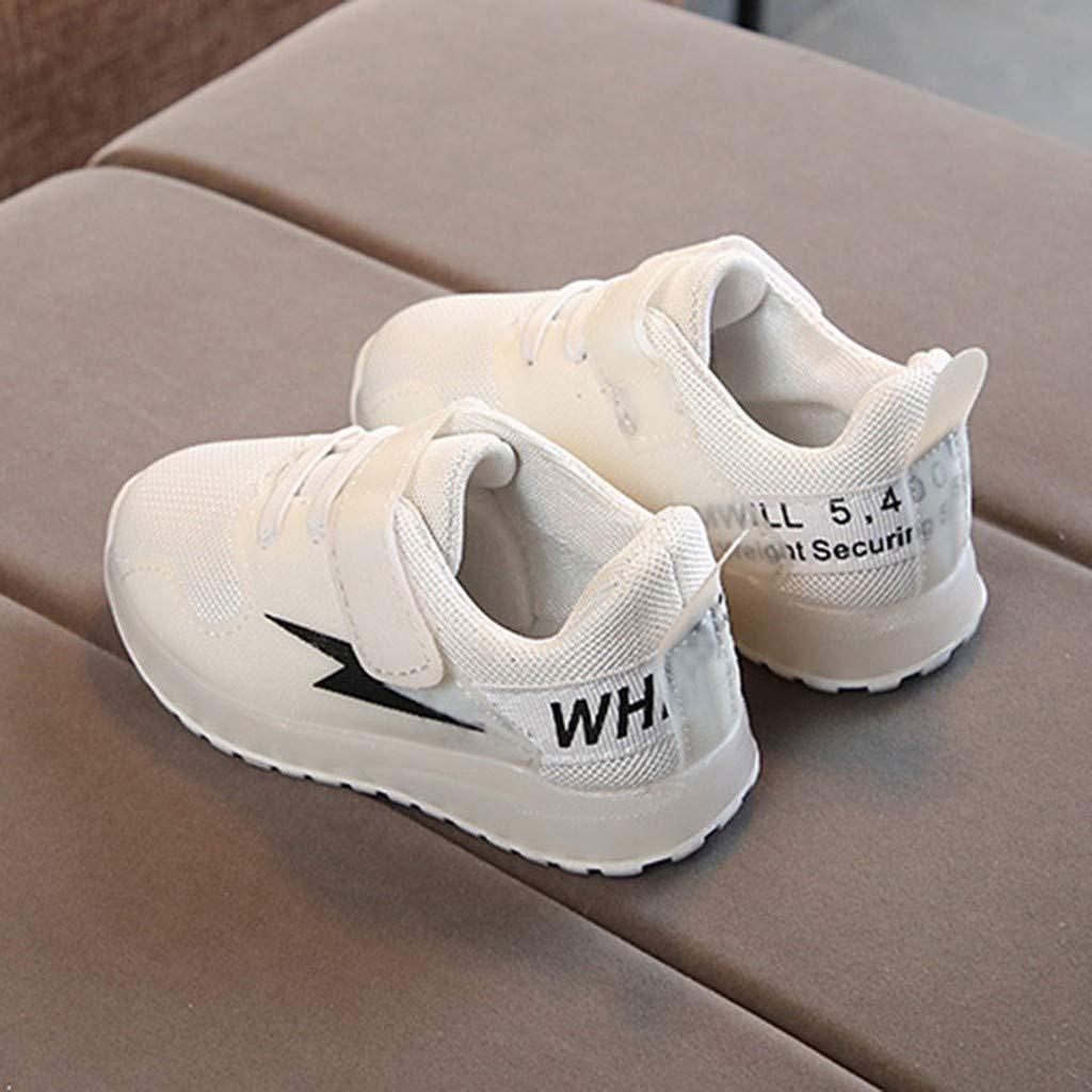 AIni Zapatos LED Ni/ñOs Ni/ñAs Zapatillas con Costuras De Malla Zapatos Casuales De Velcro Zapatillas Ligeros Unisex con Luces Zapatos Luminosos LED para Ni/ñOs Negro Blanco Rosa 21-30 EU