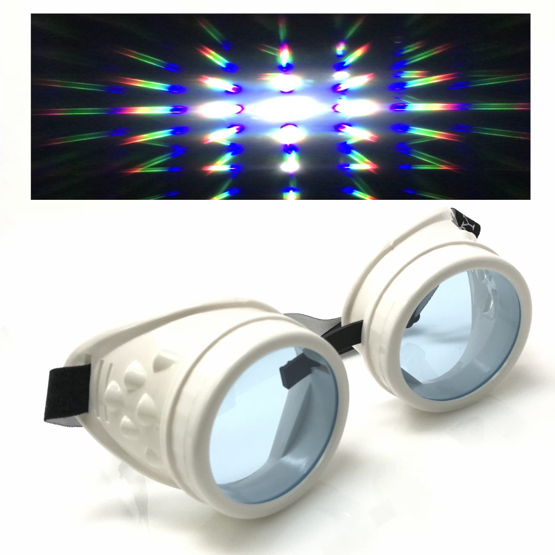 UV Glow in The Dark Steampunk Rave Goggles Prism Diffraction Round Retro Glasses cw clear prism diffraction