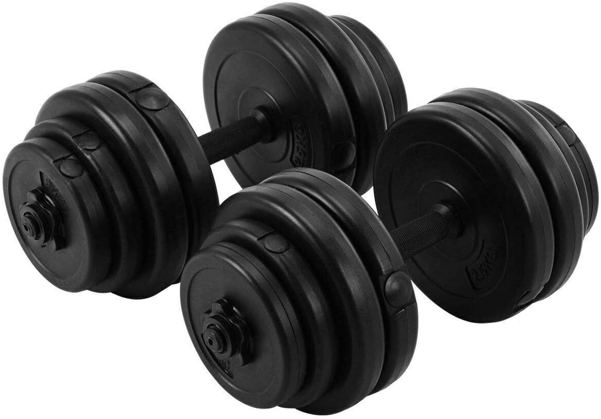 Magic Tech 64LB Weight Dumbbell Set Adjustable Cap Gym Barbell Plates Body Workout