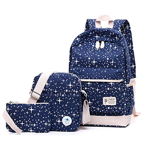 Yilianda Bag Schoolbag Canvas Blue School Bags Dark Rucksack Teenage Backpack Girls Pencil For Sets 3pcs Shoulder rrnFTqH