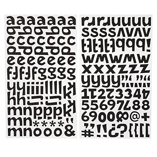 Darice 1219-60 172-Piece Glitter Alphabet Sticker, Lower Case Letters and Numbers with Bold Font, Black