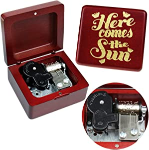 Sinzyo Music Box Vintage Wood Carved Mechanism Musical Box Gift for Christmas,Birthday,Valentine's Day,Best Gift for Kids,Friends (Here Comes The Sun-Wine red Wood Box)