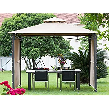 Abba Patio 10x10 ft Outdoor Art Steel Backyard Shelter Patio Gazebo with 2 Privacy Panels, Beige