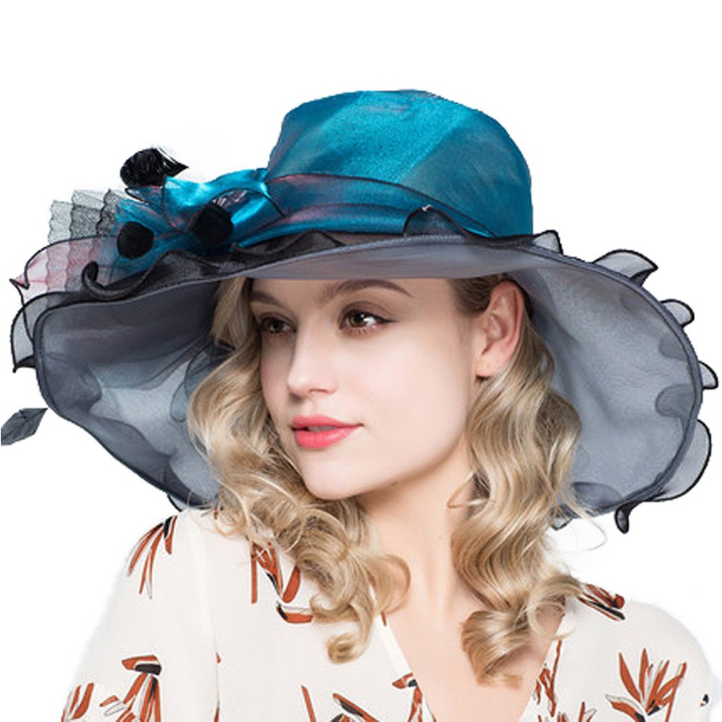 Womens Kentucky Derby Hat Wide Brim Organza Sun Hats Elegant with Feather