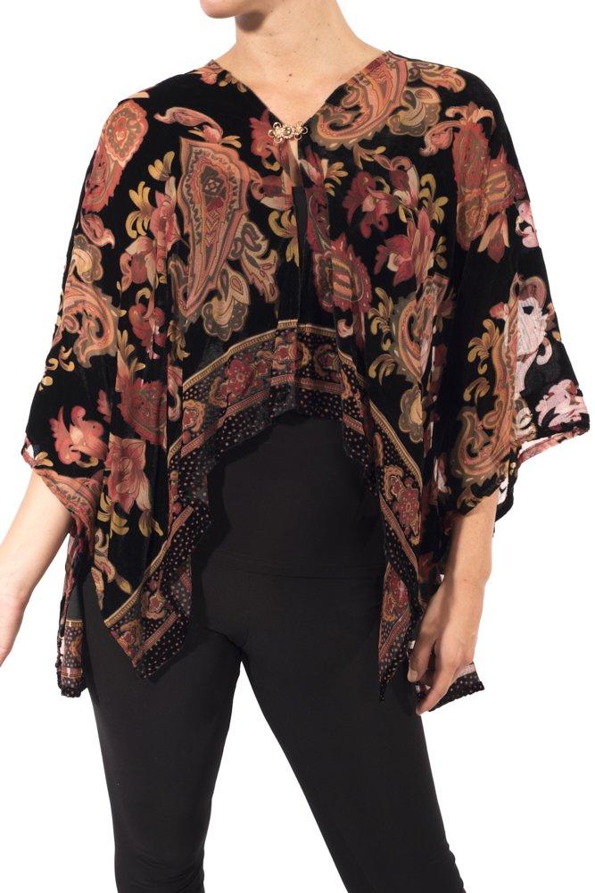 Joseph Ribkoff Velvet Burnout Poncho Cover Up Style 173740 Size S/M by Joseph Ribkoff