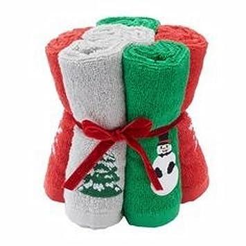 ST Nicholas Cuadrado Juego de 6 toallitas con Muñeco de Nieve, árbol de Navidad y Copo de Nieve: Amazon.es: Hogar
