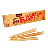 Raw Natural Unrefined Classic Kingsize Cones - 32 Cones Per Pack