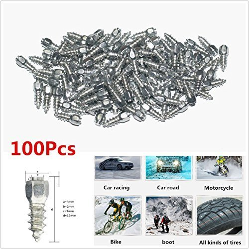 100 X Durable Vehicles Off-Road Wheel Tyres 12mm Racing Track Tire Ice Snow Chains Spikes Studs Spikes Wheel Tyres Car/Truck/ATV WOPUS JX4*4-H12