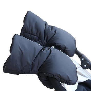 Cochecito Muffler, Extra Grueso Invierno Impermeable Guantes Anticongelantes Niños Cochecito de Bebé Cochecito Accesorio Calentador de Manos (Negro)