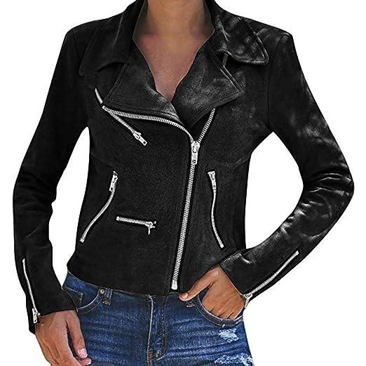 cb71943c Women's Leather Jackets Casual Coats Short Soft Zip Up Biker Flight ...