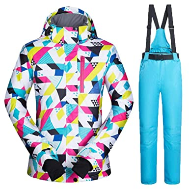 c07c045124e426 iBaste Schneeanzug Damen Skianzug 2tlg Snowboardjacke mit Kapuze+Hosenträger  Skihose Outdoorjacke Damen Regenjacke Hardshell Jacke