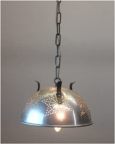 Vintage Retro Colander Strainer Pendant Light Fixture Repurposed Ceiling  Lamp
