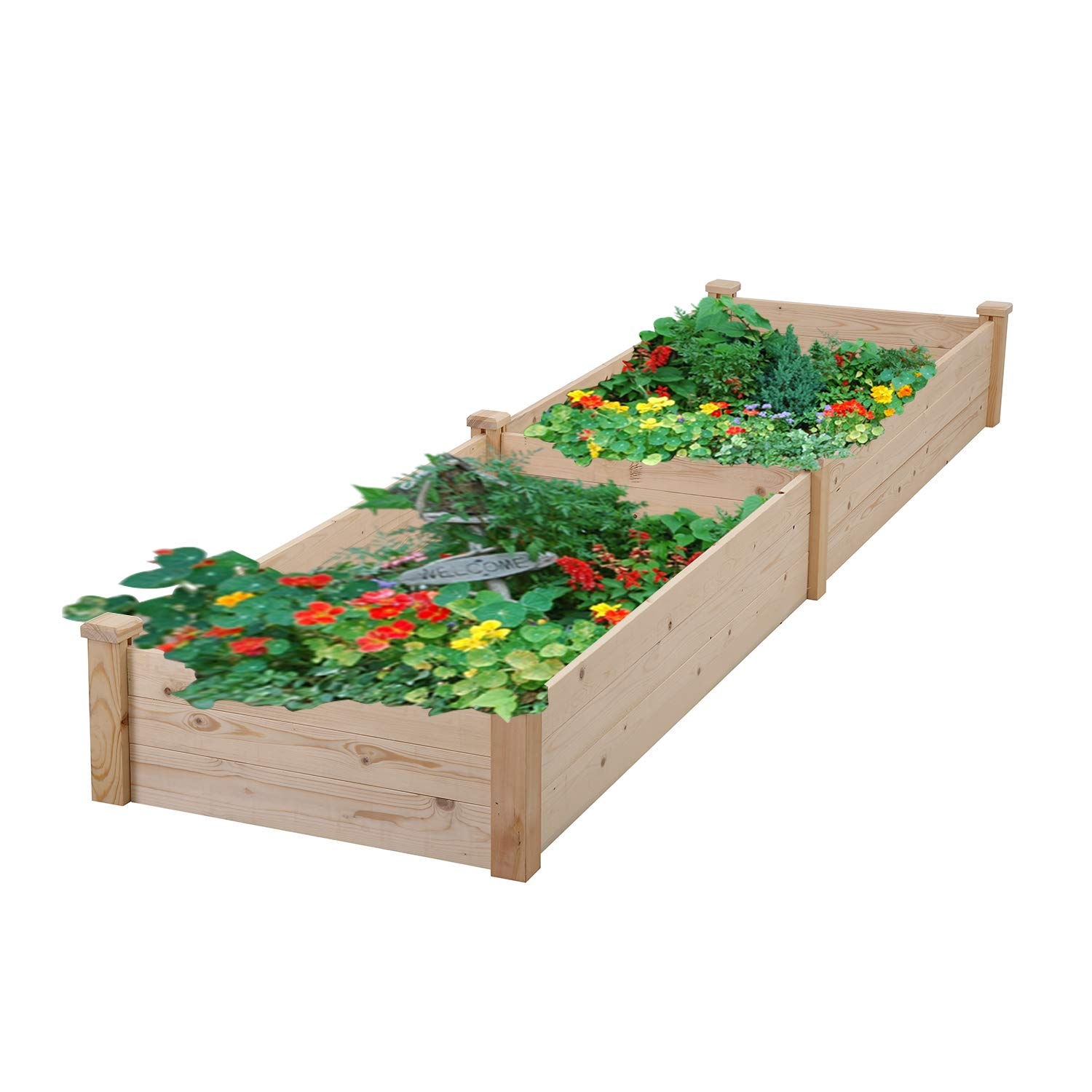 Outdoor Basic Planter Raised Beds Backyard Elevated Garden Bed Growing Vegetables Flowers Size 8ft x 2ft x 0.83ft