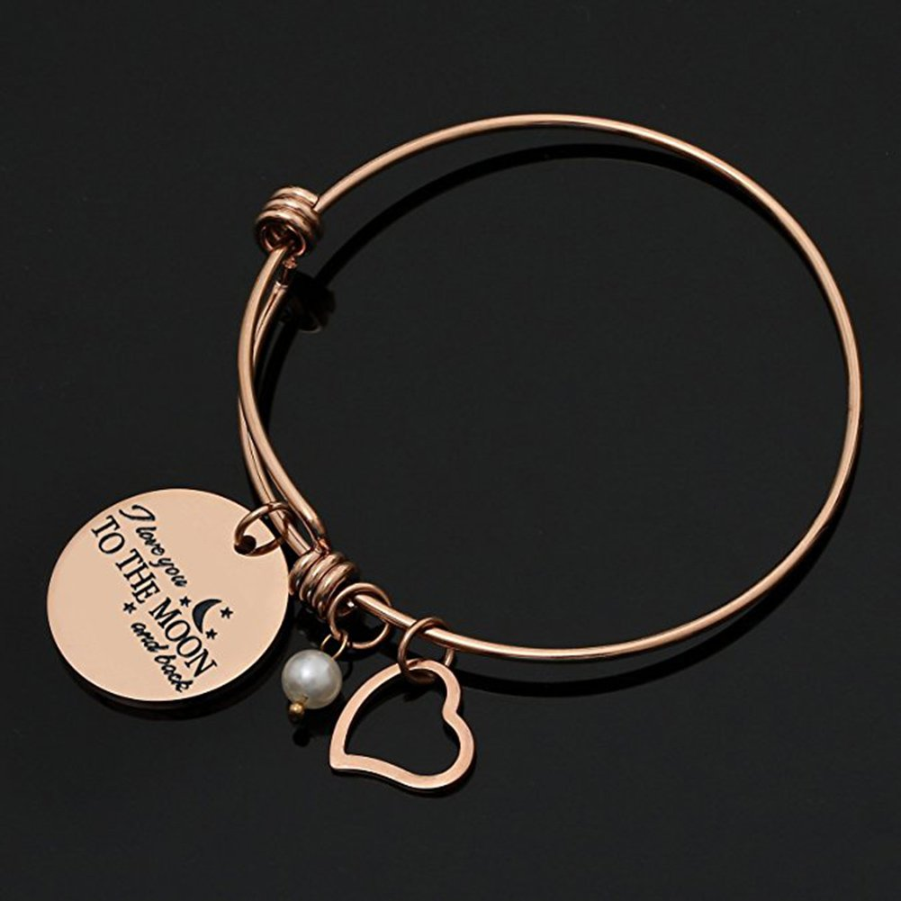 MONASOC Charm Bracelet i love you to the moon and back Expandable Pearl Bangle Gift jewerly For Women Girl Sister Mother Friends by MONASOC (Image #5)