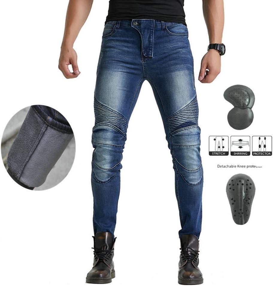 Pantalones De Moto De Invierno Para Hombre, Pantalones Gruesos Y Cálidos De Motocross, Con Versión Mejorada De Almohadilla Protectora Extraíble, Pantalones De Moto Anticaídas (Azul,XL)