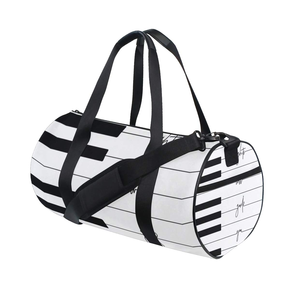 Gym Bag with Geometric Music Piano Print Travel Weekender Duffel Bag for Man and Woman