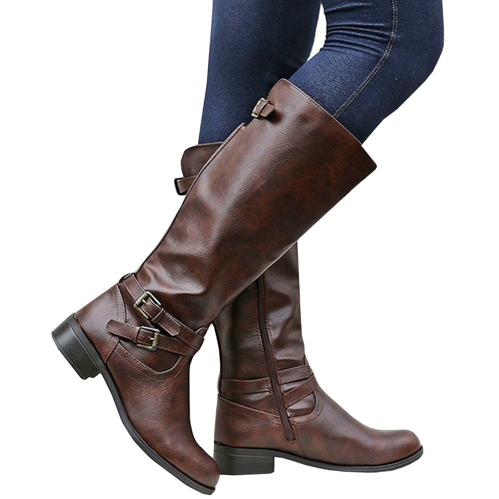 Ivay Women's Knee High Winter Riding Boots