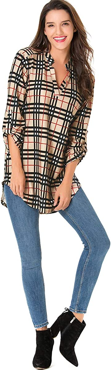 St. Jubileens Women Roll-Up 3/4 Sleeve Plaid Shirt Tunic V Neck Casual Pullover Blouses Tops