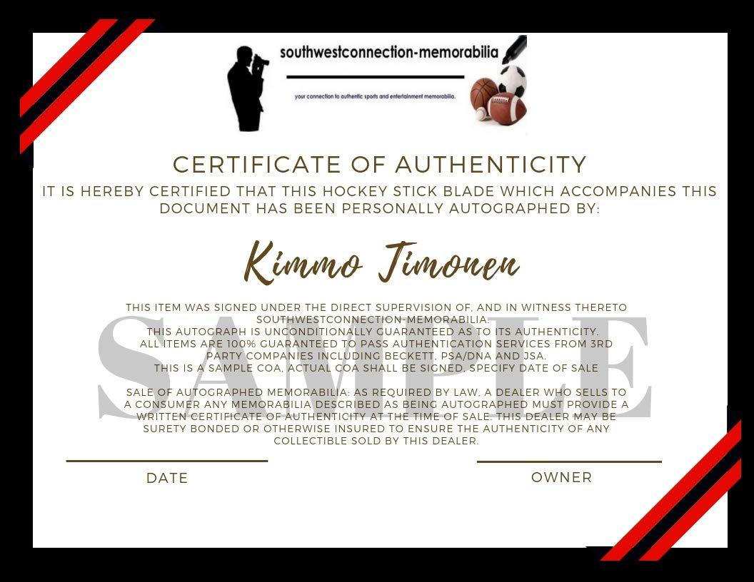 Chicago Blackhawks Kimmo Timonen Autographed Hand Signed Black Hawks Logo Ice Hockey Stick Blade with Proof Photo of Signing and COA
