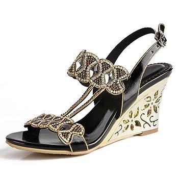c3580e1b449593 Wgwioo High Heels women crystal sandals diamond handmade hollow slope high  heels leather night club evening