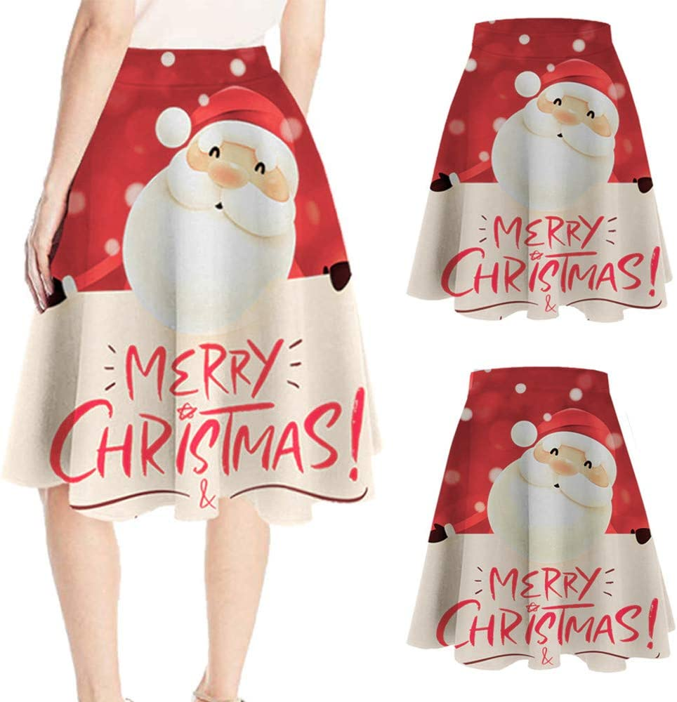 Casual Navidad Santa imprimió elástico Vestido de Bola Cosplay de ...