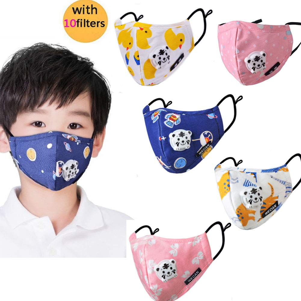 Kid's Dust Mouth Mask Cartoon PM2.5 Anti Dust Pollution Mask Cotton Mouth Mask Children's Guaze Mask Dustproof Face Mask with N95 Respiration Valve Filter 5pcs dustmaskfactory001