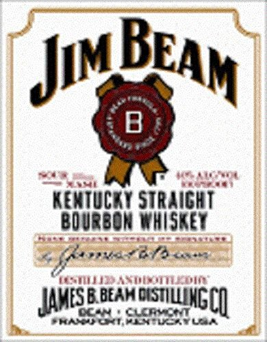 Mostly Signs Jim Beam White Label Tin Sign Man Cave Bar -