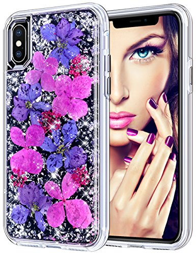 """Coolden Case for iPhone X/XS, Luxury Glitter Case with Dried Natural Flower Cute Girly Durable Shockproof 2-Layers Solid PC Cover Case + Flexible TPU Frame for iPhone X/10/XS 5.8"""", Purple Flower"""