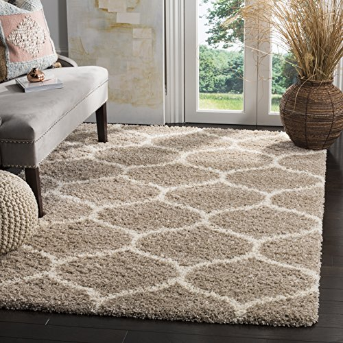 Safavieh Hudson Shag Collection SGH280S Beige and Ivory Moroccan Ogee Plush Area Rug (5'1