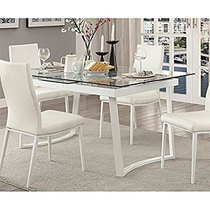 Amazon Com Furniture Of America Ambre Extendable Glass Top Dining