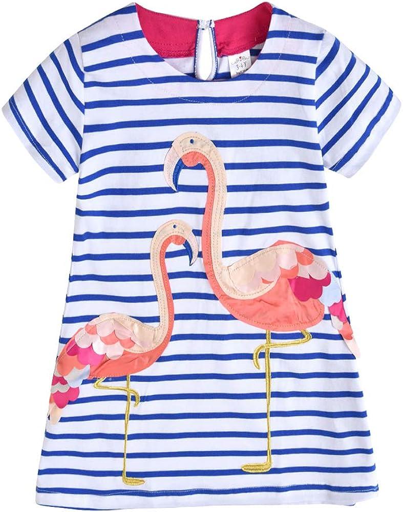 VIKITA Girls Dress Kids Baby Girl Dress Short Sleeve Dresses Cotton Embroidery Rainbow Flower Print Age 1-8 Years JM6851 6T