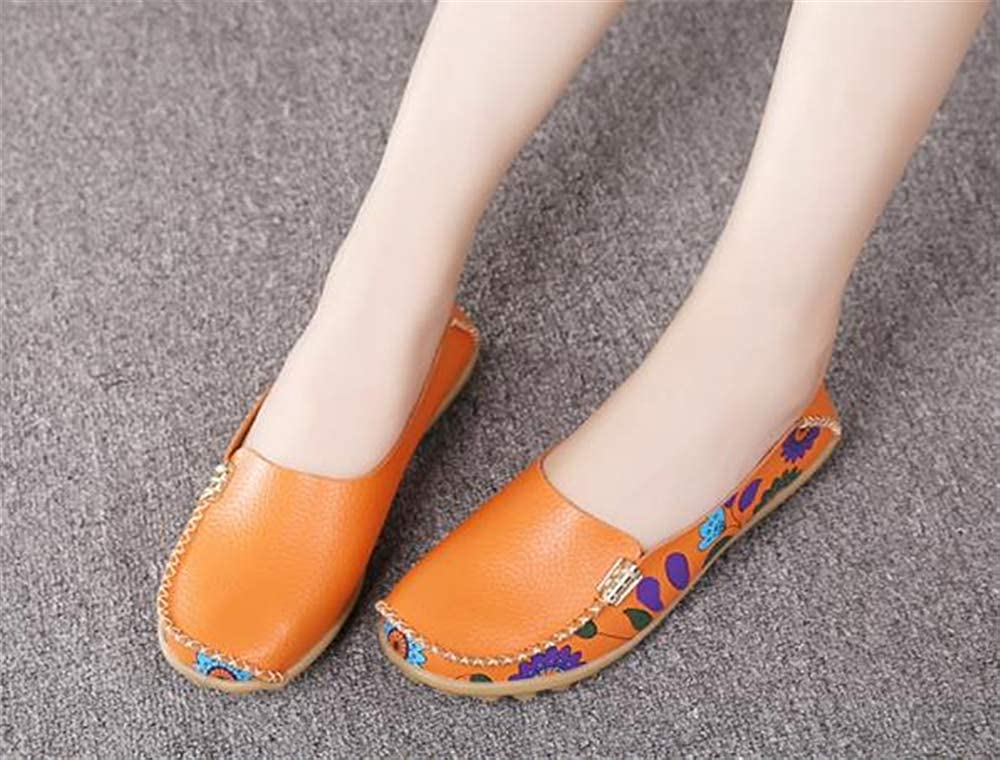 Orange-Lable 41//9.5 B US Women Womens Cowhide Floral Print Flat Casual Slip on Driving Loafer Shoes M