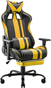 Soontrans Racing Chair,Gamer Chair for Adults Kids,Ergonomic Office Chair,Gaming Chair with High Back Support,Height Armrest Adjustable,180° Tiltable,Headrest and Lumbar Support(Sunny Yellow)