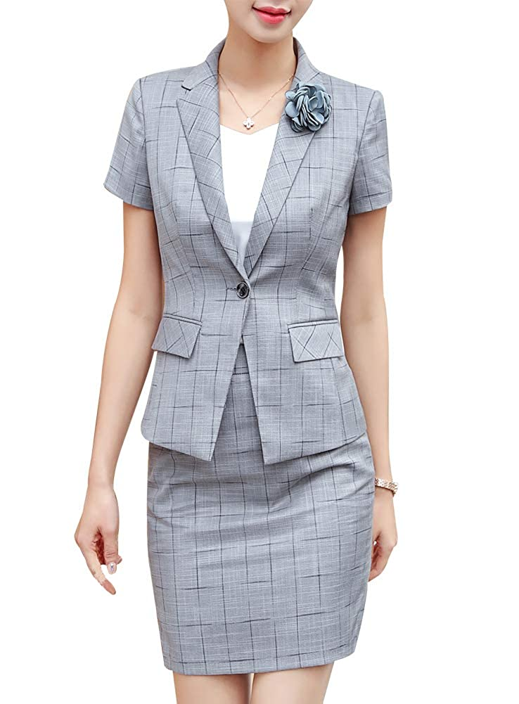 Light Grey LISUEYNE Women's Casual Two Pieces Blazer Suit One Button Office Blazer Jacket&Pant Skirt Suit