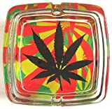 Marijuana Weed Deluxe Glass Ashtray Model 6