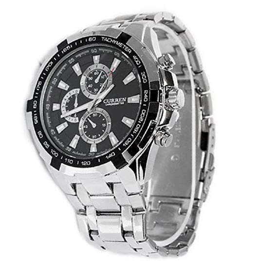 ShoppeWatch Relojes De Hombre Mens Wrist Watch Silver Tone Bracelet Large Face Black Dial CR8023SLBK