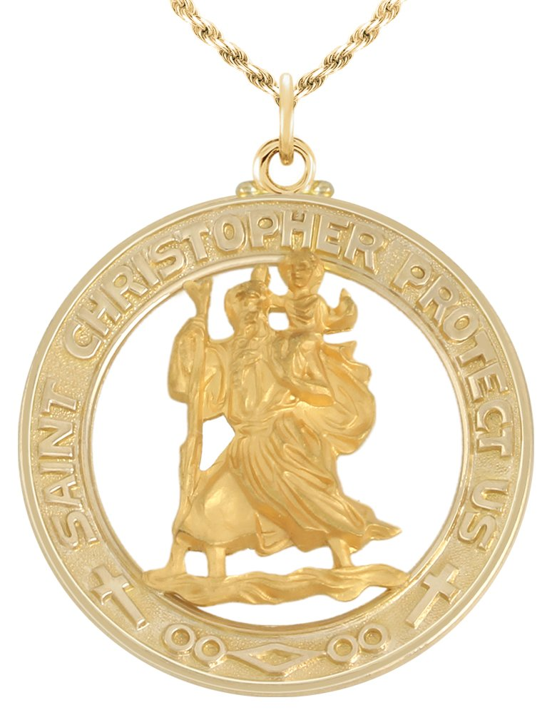 US Jewels And Gems 1 1/8in Round Solid 14k Yellow Gold Saint Christopher Medal Pendant Necklace