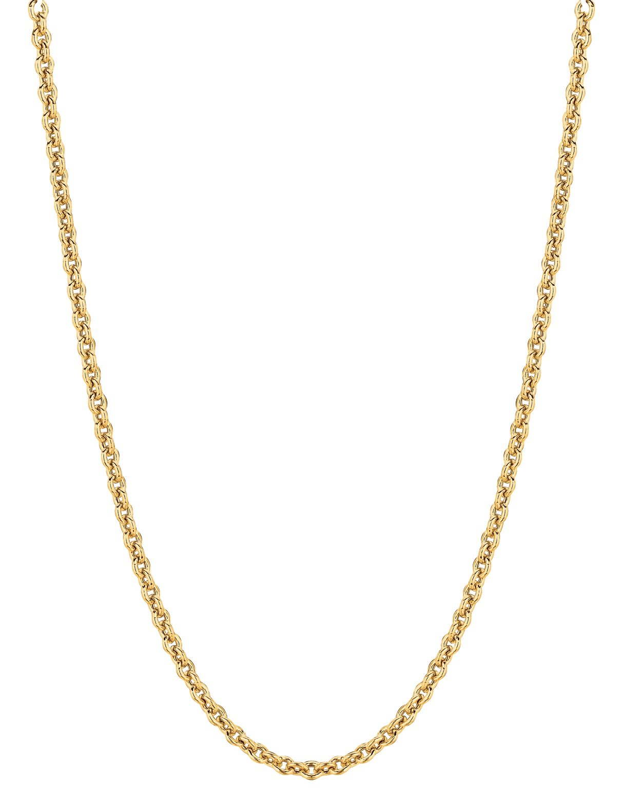14kt 18'' Yellow Gold 1.5mm Diamond Cut Forsantina Cable Chain with Lobster Clasp by RCI