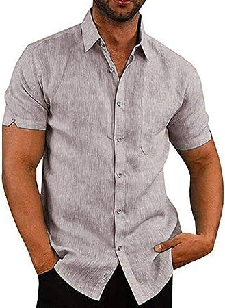 CSDM Camisa de Hombre Ropa de Hombre Camiseta Lisa Camisas Casuales Vestido de Hombre Tops de Manga Corta Camisas Masculinas Botón de Cuello Solapa Abajo Chemise: Amazon.es: Hogar